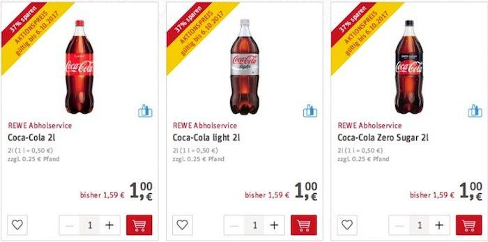 Coca Cola in der 2 Liter Flasche für 1€   auch Light und Zero
