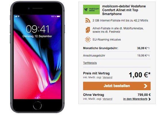 iPhone 8 für 1€ + Vodafone Flat mit 2GB für 36,99€ mtl.