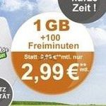 Vodafone Tarif mit 100 Frei-Minuten und 1GB für 2,99€mtl.