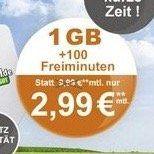 Vodafone Tarif mit 100 Frei Minuten und 1GB für 2,99€mtl.