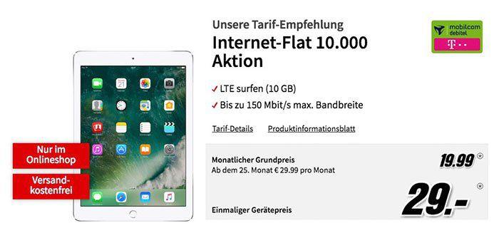 iPad 2017 mit 32GB für 29€ + Telekom 10GB Datentarif für 19,99€ mtl.   Tipp!