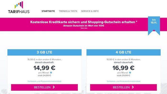 Tarifhaus LTE Handytarife mit bis zu 4GB ab 14,99€mtl. + beitragsfreie Kreditkarte + 100€ Amazon Gutschein