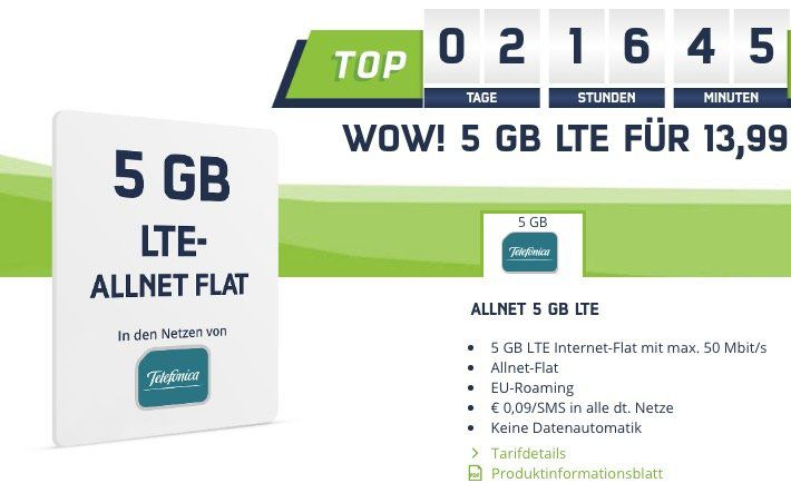 o2 Allnet Flat mit 5GB LTE für 13,98€ mtl.