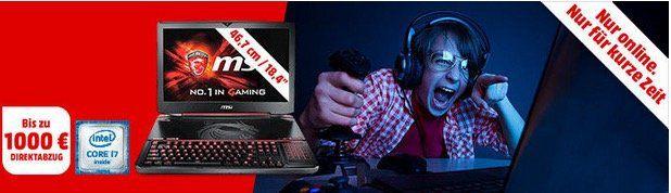 Bis zu 1.000€ Rabatt auf MSI Gaming Notebooks bei Media Markt
