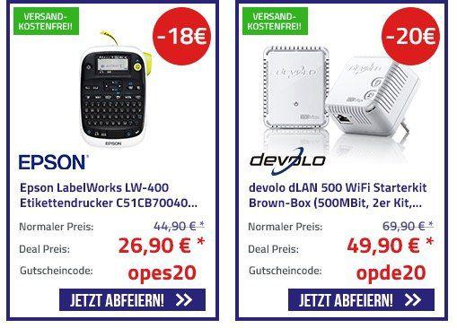 20 Jahre Office Partner mit bis zu 150€ Rabatt   z.B. Devolo DLAN 500 Starterkit für 49,90€ (statt 75€)
