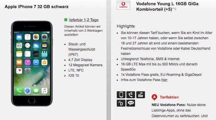 Vodafone Young L mit 16GB LTE im GiGa Kombivorteil für 32,99€mtl. + iPhone 7 nur 1€