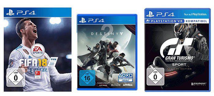 2 TOP Games für nur 99€ beim Media Markt   z.B. Fifa 18, Destiny 2 oder Gran Turismo Sport