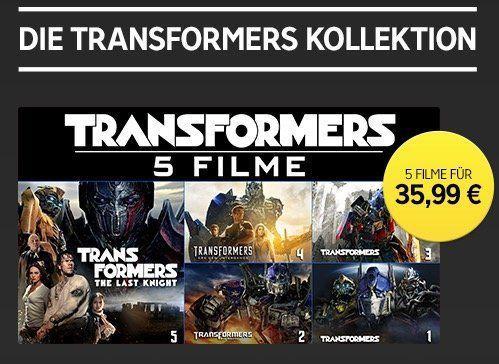 Transformers Kollektion (Teil 1 bis 5) in HD für 35,99€