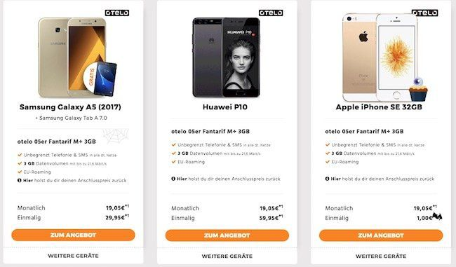 Otelo Halloween Deals bei Handyflash inkl. Smartphone ab 1€ (iPhone SE, Galaxy S8, ...)