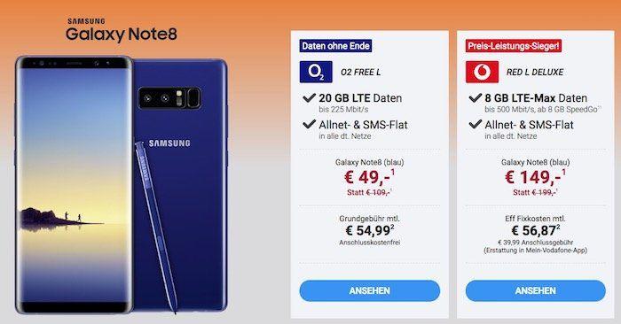 Halloween Deals bei Sparhandy   z.B. Samsung Galaxy Note 8 nur 49€ + o2 Flat mit 20GB LTE für 54,99€mtl.