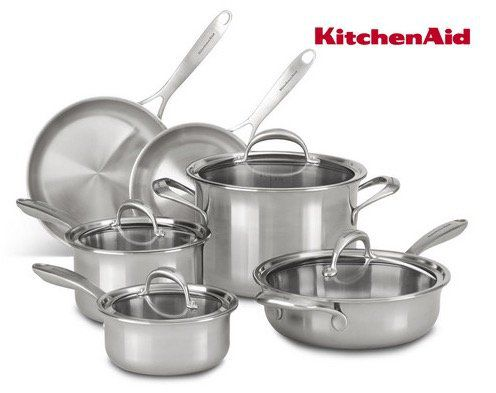 KitchenAid KC2CS10ST Topf Set 10 teilig für 308,90€ (statt 399€)