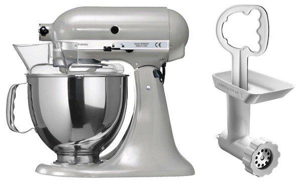 KitchenAid Artisan 5KSM150PS mit 4,8L Schüssel und 300 Watt + Fleischwolf Vorsatz für 399€ (statt 489€)