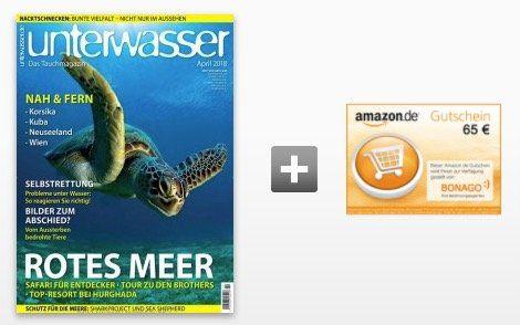 12 Ausgaben Unterwasser für 70,80€ inkl. 65€ Amazon Gutschein oder 60€ Verrechnungsscheck