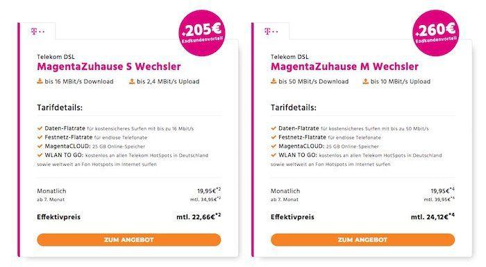 Telekom MagentaZuhause    verschiedene Tarife z.B. MagentaZuhause M 50 Mbit/s für 24,12€ mtl. (Wechsler)