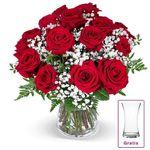 """Rosenstrauß """"Liebesglück"""" mit Schleierkraut und Vase für 22,98€"""
