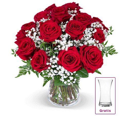 Rosenstrauß Liebesglück mit Schleierkraut und Vase für 22,98€