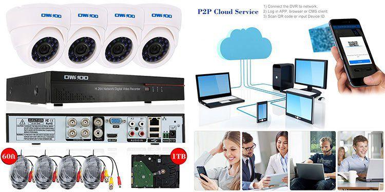OWSOO Videoüberwachungsanlage mit 4 wasserdichten Infrarotkameras inkl. VR Kit mit 1 TB HDD für 70€ (statt 100€)