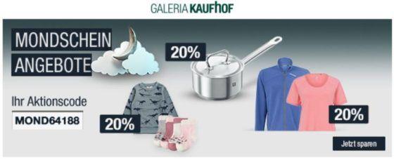 20% Rabatt div. Sportmarken, Herren  u. Kinderwäsche, ZWILLING (Messer & Co.)  uvm.   Galeria Kaufhof Mondschein Angebote
