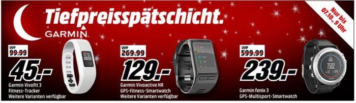 Media Markt Garmin Tiefpreisspätschicht: günstige Fintness & Actifity Tracker z.B.  GARMIN Vivofit 3 für 45€