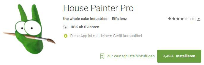 House Painter Pro (Android) gratis statt 7,99€