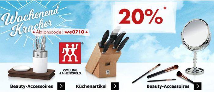 Karstadt Weekend Kracher: 20% auf Beauty Accessoirs, Zwilling Küchenartikel, Fitnessbekleidung und mehr ..