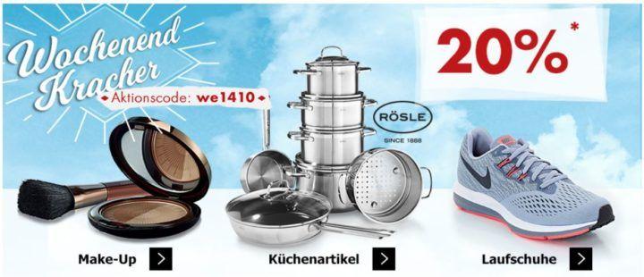 Karstadt Weekend Kracher: 20% auf RÖSLE Küchenartikel, Laufschuhe, Make up und mehr