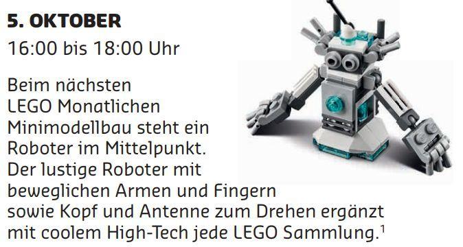 Gratis Lego Mini Bauaktion Oktober – nur am 05.10 in teilnehmenden Lego Stores