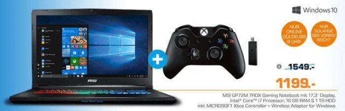 MSI GP72M 7RDX   17,3 Gaming Notebook mit Core i7 (256GB SSD, 1TB HDD, GTX 1050) + XBox Controller für 1.199€