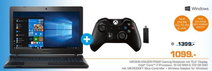 Medion Erazer P6681   15,6 Notebook mit i7 CPU + 512GB SSD + 1,5 TB Festplatte + XBox Game Controller statt 1.285€ für 1.099€