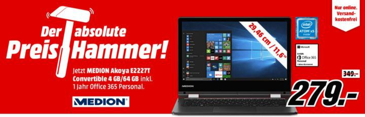 MEDION AKOYA E2227T Convertible 64 GB 11.6 Zoll für 279€