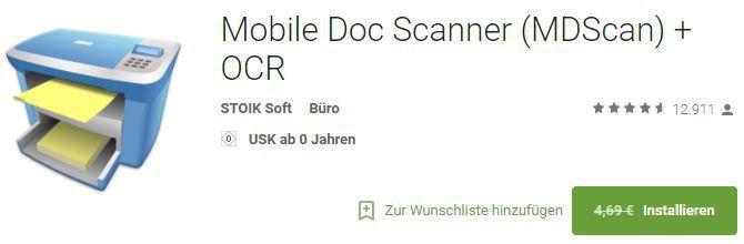 Mobile Doc Scanner (Android) kostenlos statt 4,69€