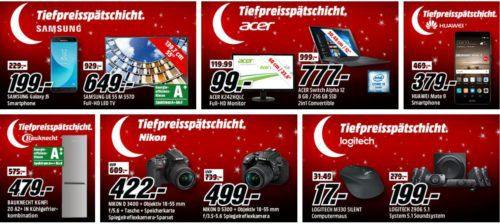 Media Markt Mega Tiefpreisspätschicht: günstige Artikel von  Samsung, Acer, Huawei, Bauknecht und Nikon