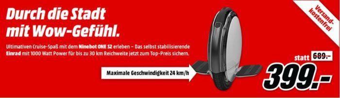 Ninebot One S2   elektrisches Einrad für 399€ (statt 479€)