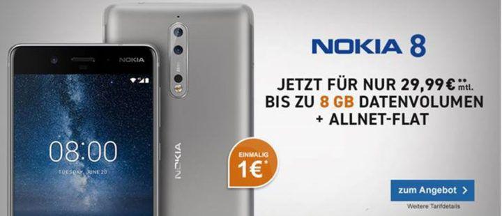 NOKIA 8 + Blau AllNet & SMS Flat + 4 GB LTE für 29,99€ mtl.