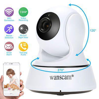 Wanscam HD 720P WiFi Webcam mit App Kontrolle, NightVision u.v.m. für 17,92€