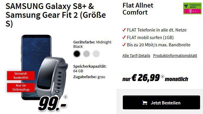 Hot! Samsung S8 Plus + Gearfit 2 + Telekom Allnet Flat + 1GB Daten für nur 32,78€ + andere Bundle