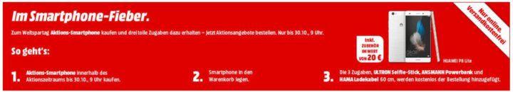 Media Markt Smartphone Fieber: z.B. HUAWEI P8 Lite 16 GB DualSIM für 99€ + 3 Gratis Artikel