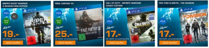 Saturn Weekend Sale: z.B. Sniper Ghost Warrior 3 Season Pass Edition [PS4, XBox One, PC] je 19€