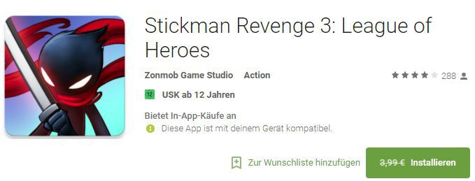 Stickman Revenge 3: League of Heroes (Android) gratis statt 3,99€