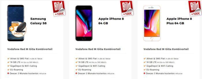 Vodafone AllNet + SMS Flat + 14GB Daten + S8 / iPhone 8 für Vodafone und KD Kunden ab 30,07€