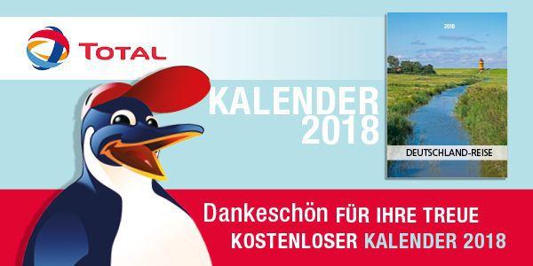Kostenloser Kalender 2018 Deutschlandreise von Total anfordern