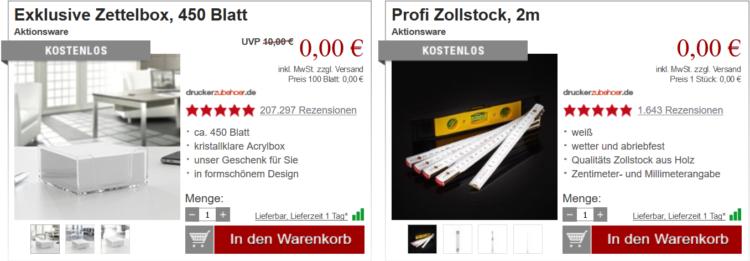 Druckerzubehör ohne Mehrwertsteuer + gratis Bitset, Zollstock & Zettelbox + VSK