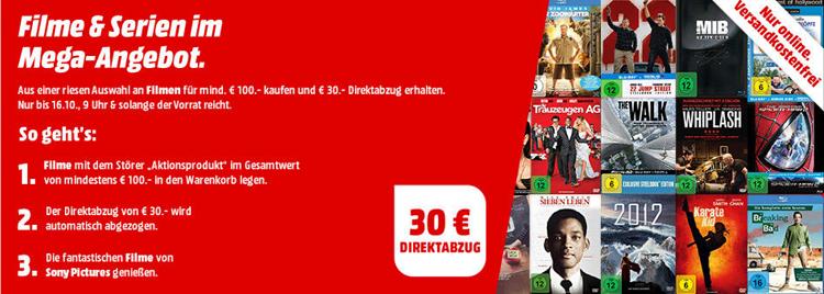 Filme und TV Serien im Wert von 100€ kaufen mit 30€ Sofort Rabatt