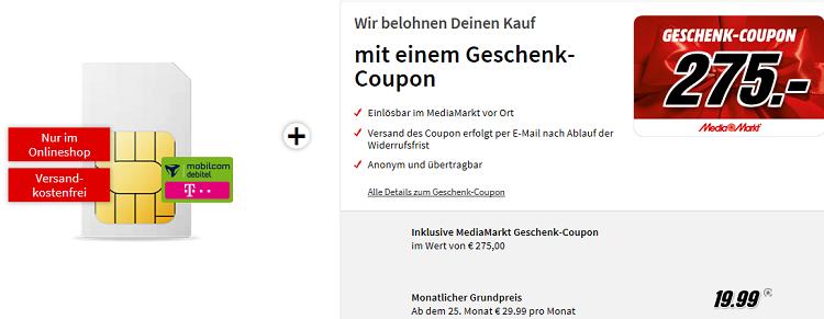 Top! Telekom Internet Flat 10.000 mit 10 GB LTE für 21,66€ + 275€ Media Markt Gutschein geschenkt