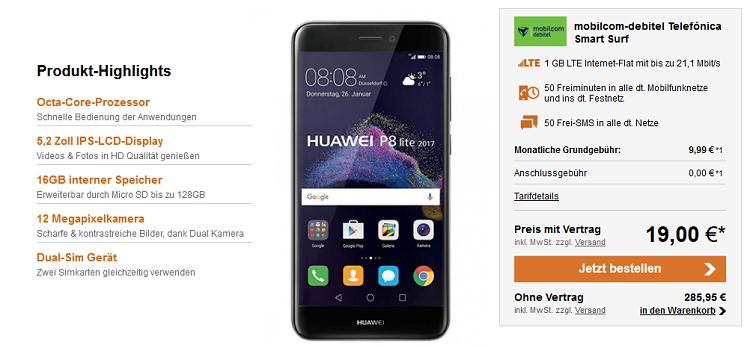 Huawei P8 Lite 2017 für 19€ + o2 Smart Surf mit 1GB LTE für 9,99€ mtl.
