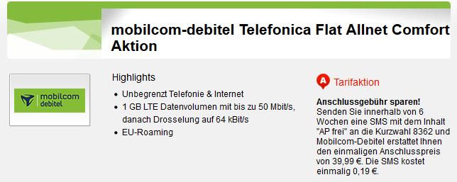 o2 Comfort Allnet Flat mit 1GB LTE (EU Roaming) für nur 5,99€ mtl.