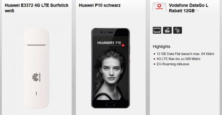 Huawei P10 Smartphone + Huawei E3372 LTE Surfstick + Vodafone Datentarif DataGO L 12GB LTE (max. 500Mbit/s) für 27,99€ mtl.