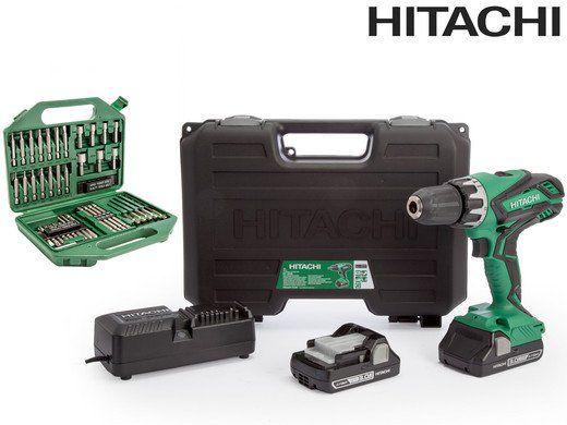 Hitachi DV 18 DV18DGL / JM Schlagbohrschrauber 18 V im Koffer + 2x Akkus + Bit  und Bohr Set für 165,90€ (statt 180€)