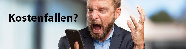 Businessman wütend Kostenfallen Smartphone