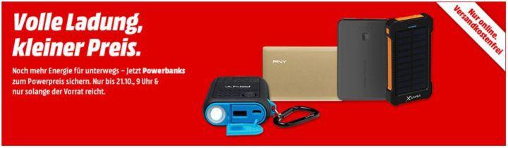 Media Markt Powerbank Aktion: z.B. REALPOWER PB T1   2er Pack Powerbank 2600 mAh für 6,99€